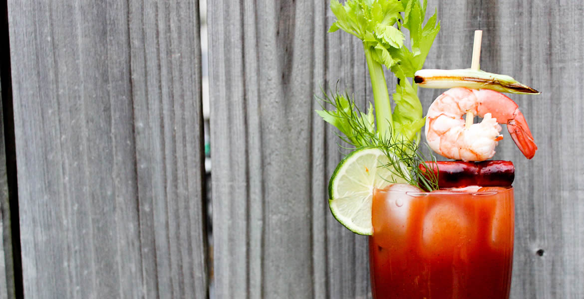 Fortune Imports | Bloody Mary with Pickled Shrimp & Chorizo Garnish
